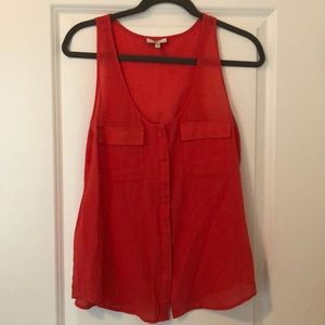 Joie red button up tank, 100% cotton, size xs